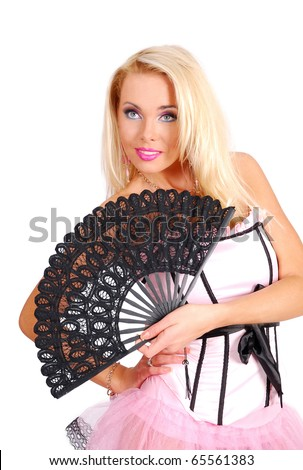 Nice lady in a rose corset holding a black fan - stock photo