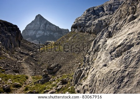 Nice landscape in the mountains - stock photo