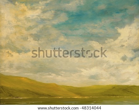 Nice Landscape Oil Painting of the mountains and sea - stock photo