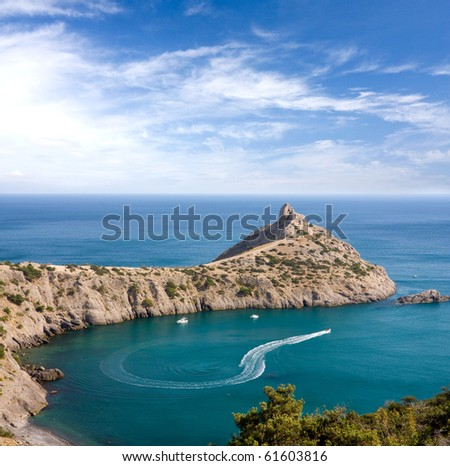 Nice landscape with cape in sea - stock photo