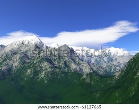 Nice landscape with snow on the high mountains
