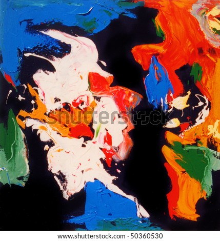 Nice large scale Abstract oil Painting In Wood - stock photo