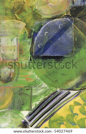 Nice Large scale Abstract Oil Painting On Canvas - stock photo