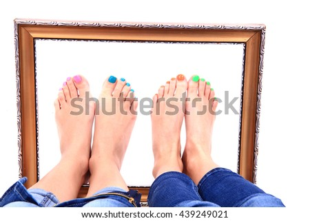 nice legs with pedicure isolated on the white background