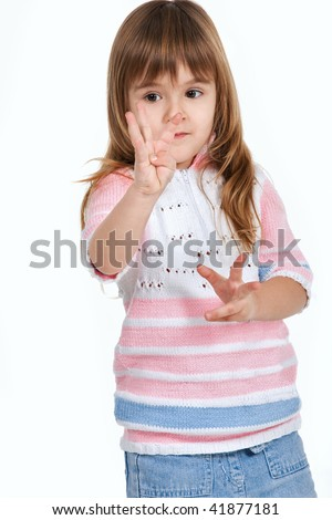 Nice little girl counting fingers - stock photo