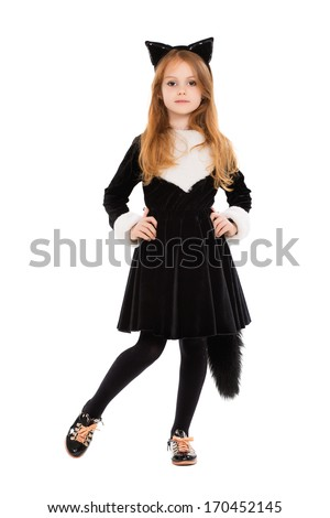 Nice little girl dressed as black cat. Isolated on white - stock photo