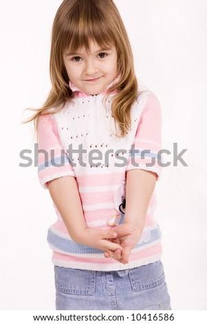 Nice little girl over white - stock photo