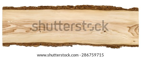 Nice long wooden board framed with beautiful bark isolated on white background - stock photo