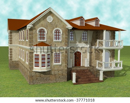 nice looking 3d house in classical style