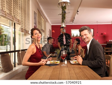 nice lunch for two in a restaurant - stock photo