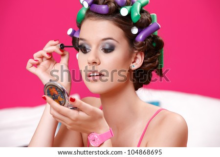 nice make up on beautiful girl - stock photo