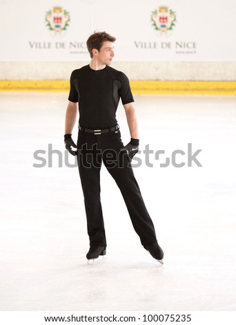 NICE - MARCH 29: Brian Joubert of France skates during official practice at the ISU World Figure Skating Championships on March 29, 2012 in Nice, France - stock photo