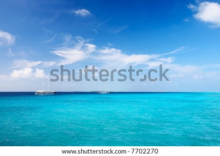 Nice marine seascape with  sailers, Maldives - stock photo