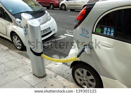 NICE - MAY 1: Electric cars at a charging station on May 1, 2013 in Nice, France.  - stock photo