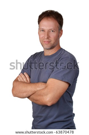 nice middle age man with arm crossed, white background