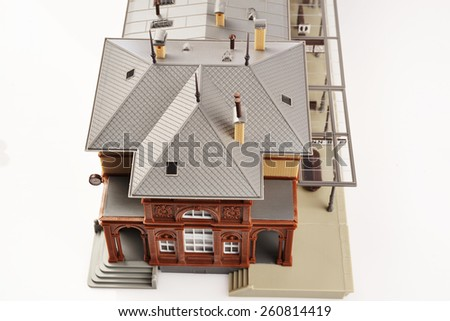 nice model town isolated on a white background - stock photo