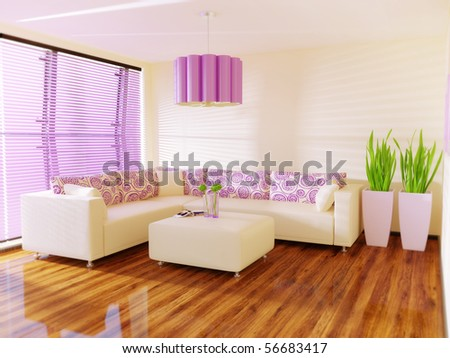 nice modern interior room with pink jalousie - stock photo