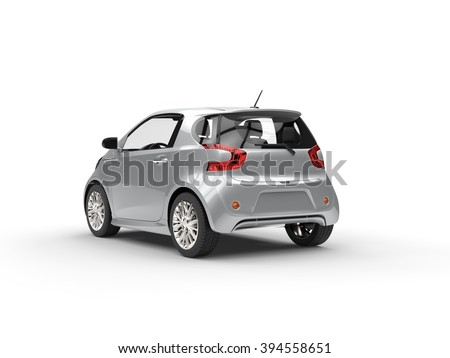 Nice Modern Silver Compact Car - Back View - stock photo