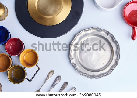 nice, modern, silver, zinc, copper, iron, vintage and old cutlery, kitchenware, cookware and dishware close up. - stock photo