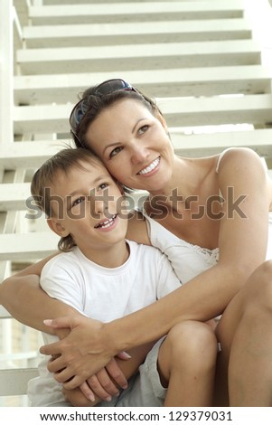 nice mom and child on the outdoor - stock photo