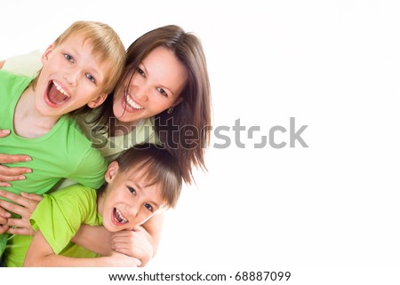 nice mom and children on a white - stock photo