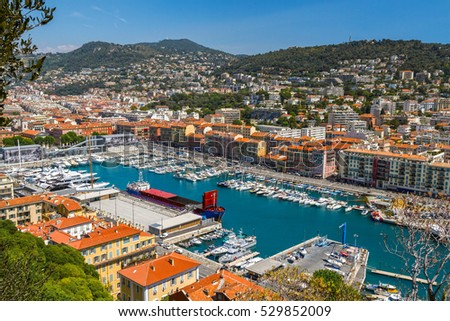 Nice, Monaco - 20 May 2016: Panorama of the port with many yachts and boats. Nice, Monaco