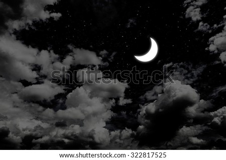 Nice moon and star in night sky with clouds - stock photo