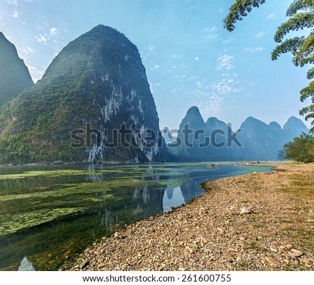 Nice morning on the river at sunrise - The Li River, Xingping