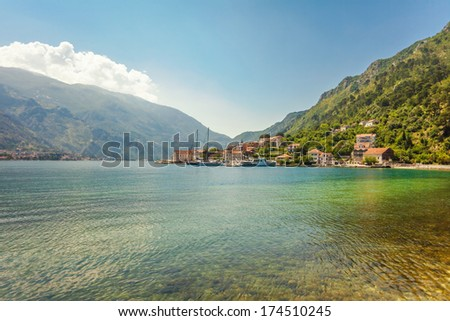 Nice mountain and sea view. Kotor. Montenegro - stock photo