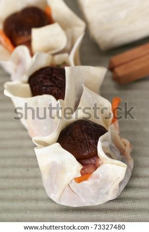 Nice Mushroom Wantan Dumplings Ready For Steaming - stock photo