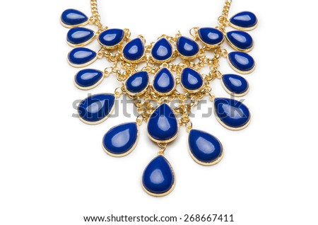 Nice necklace isolated on the white - stock photo