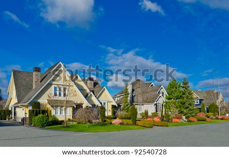 Nice neighborhood. Homes in the suburbs of the North America. Canada. - stock photo