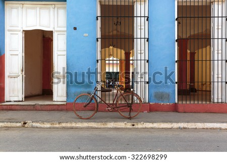 Nice old bicycle in the street of Trinidad, Cuba - stock photo