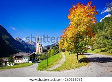 Nice  old church in Cortina dAmpezzo, Dolomites, Veneto, Italy - stock photo