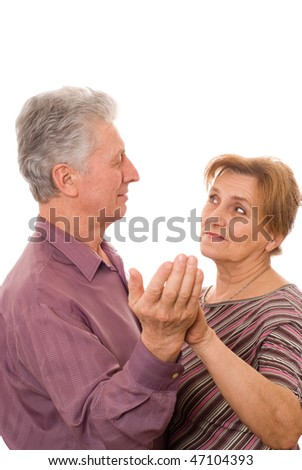 nice old couple dancing on a white background