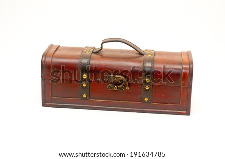 nice old empty wooden chest - stock photo