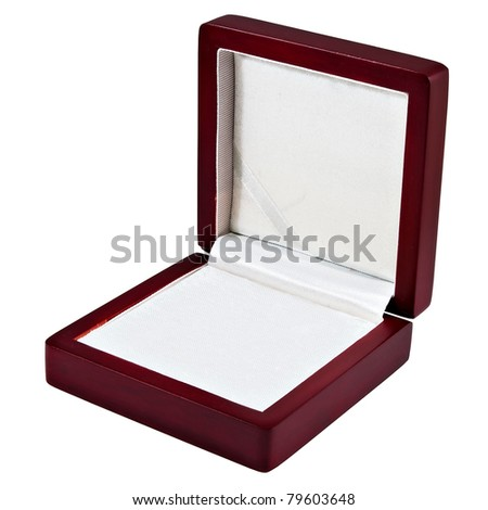 nice opened wooden mahogany case with white  interior isolated over white - stock photo