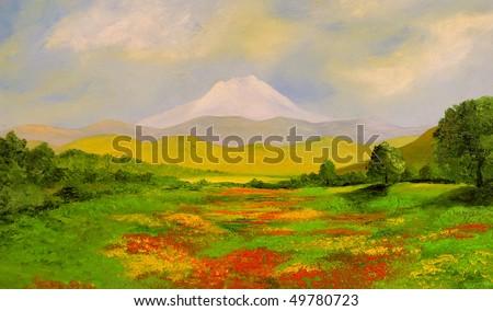 Nice original landscape oil painting On Wood - stock photo