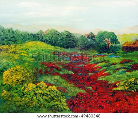 Nice original landscape painting in Oil On Canvas - stock photo