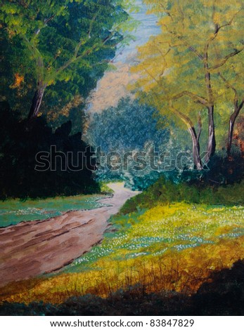 Nice original Oil Painting On canvas of a forest - stock photo