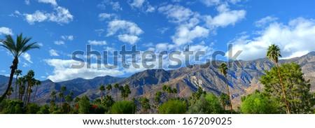 Nice panorama of Palm springs, California USA in springtime - stock photo
