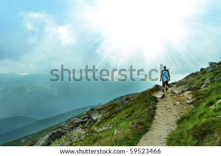 nice panorama view of hight mountains - stock photo