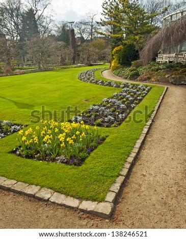 Nice park with flowers - stock photo