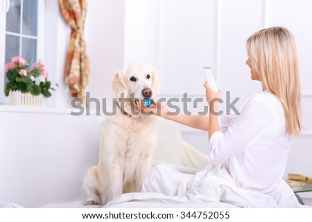 Nice photo. Pleasant caring woman holding mobile phone and taking pictures of her dog sitting on bed - stock photo
