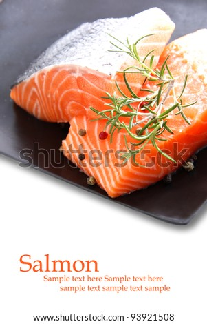 Nice pieces of raw salmon