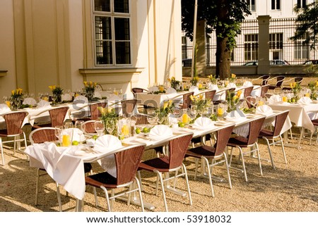 nice place arranged for lunch time outdoors in the middle of the city - stock photo