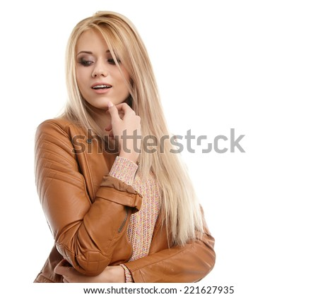 Nice portrait of a blonde girl - stock photo