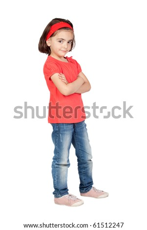 Nice portrait of beautiful girl with isolated over white - stock photo