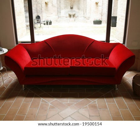 Nice red Italian couch.
