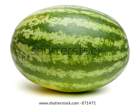 Nice round watermelon isolated on white. Clipping path included